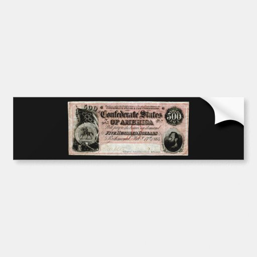 Confederado 1864 nota de quinientos dólares pegatina para auto