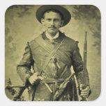 Confederado antiguo Tintype del soldado de la guer Pegatina Cuadradas Personalizadas