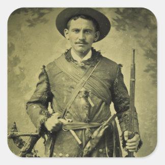 Confederado antiguo Tintype del soldado de la Pegatina Cuadrada