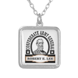 confederate army general lee silver plated necklace