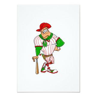 Confederate cowboy baseball red green 5x7 paper invitation card