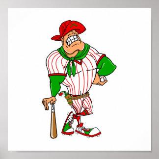 Confederate cowboy baseball red green poster