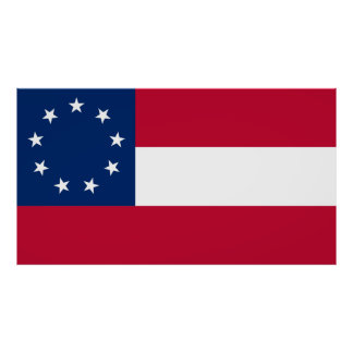 Confederate First National 9 Star Flag Poster