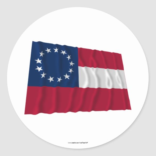 Confederate First National Flag, 13 Stars Round Stickers