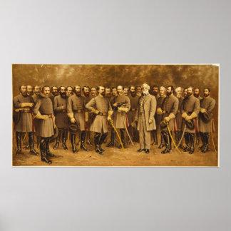 Confederate General Robert E. Lee and his Generals Poster