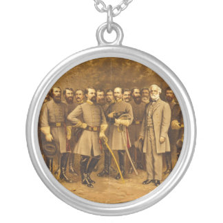 Confederate General Robert E. Lee and his Generals Round Pendant Necklace