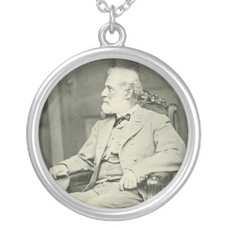 Confederate General Robert E. Lee Sitting in Chair Silver Plated Necklace