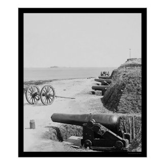 Confederate Gun Battery at Fort Johnson 1865 Poster