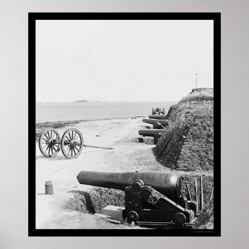 Confederate Gun Battery at Fort Johnson 1865 Poster