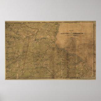 Confederate Map - portions of North Carolina Poster