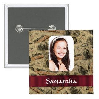 Confederate money photo template button