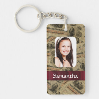 Confederate money photo template keychain