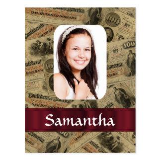 Confederate money photo template postcard