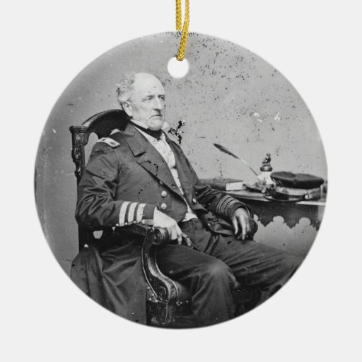 Confederate Navy Admiral Franklin Buchanan Double-Sided Ceramic Round Christmas Ornament