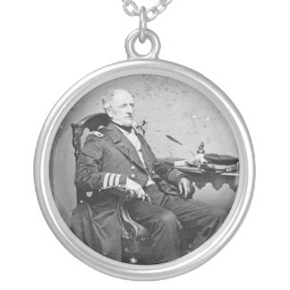 Confederate Navy Admiral Franklin Buchanan Round Pendant Necklace
