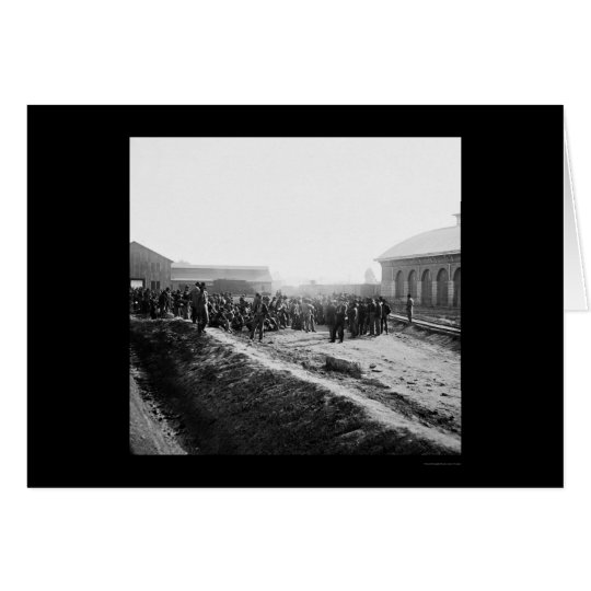 Confederate Prisoners at the Railroad Depot 1864 Card