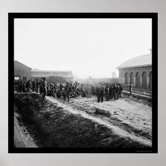 Confederate Prisoners at the Railroad Depot 1864 Print