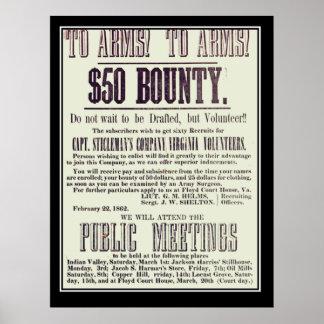 Confederate Recruitment Poster Civil War Posters
