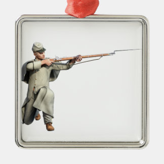 Confederate Soldier Guard with Rifle Kneeling Metal Ornament