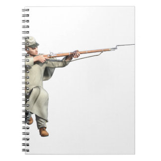 Confederate Soldier Guard with Rifle Kneeling Notebook