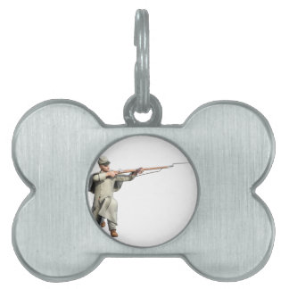 Confederate Soldier Guard with Rifle Kneeling Pet Tag