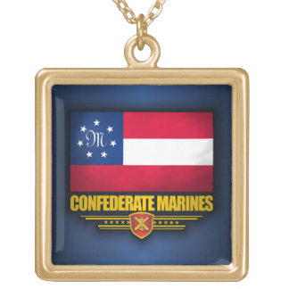 Confederate States Marines Flag Gold Plated Necklace