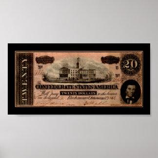 Confederate Twenty Dollar Bill Print Print