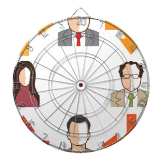 Conference circle dartboard with darts