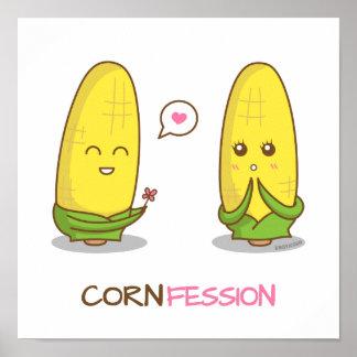 Confesión divertida linda del amor del maíz de póster