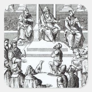 Confesión para las compensaciones ante el pegatina cuadrada