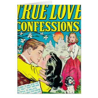 Confesiones verdaderas del amor tarjeta de felicitación