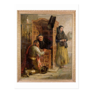 Confession, 1862 (oil on canvas) postcard
