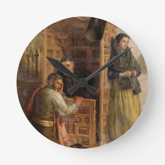 Confession, 1862 (oil on canvas) round clock