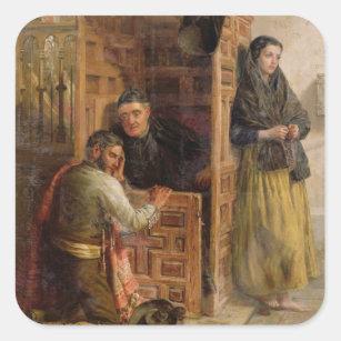 Confession, 1862 (oil on canvas) square sticker