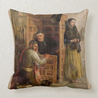 Confession, 1862 (oil on canvas) throw pillow
