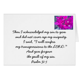 Confessions. Christian bible verse card. Card
