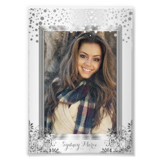 Confeti blanco y de plata decorativo - plantilla fotografías