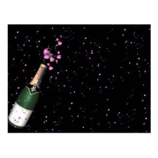 Confeti, botella de Champán y postales burbujeante