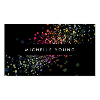 Confeti colorido en tarjeta de visita moderna