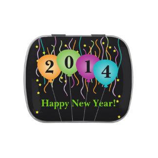 Confeti colorido y Feliz Año Nuevo de los globos Latas De Caramelos