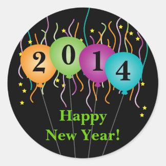 Confeti colorido y Feliz Año Nuevo de los globos Pegatina Redonda