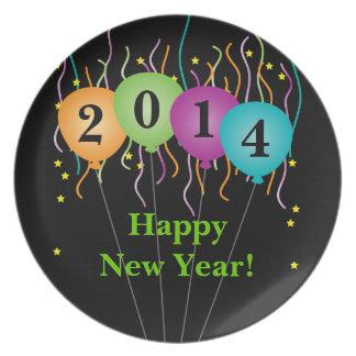 Confeti colorido y Feliz Año Nuevo de los globos Platos Para Fiestas