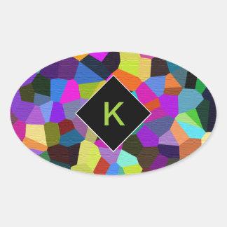 Confeti con monograma en tonos de la joya pegatina ovalada