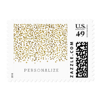 Confeti de Bling del oro Sellos Postales