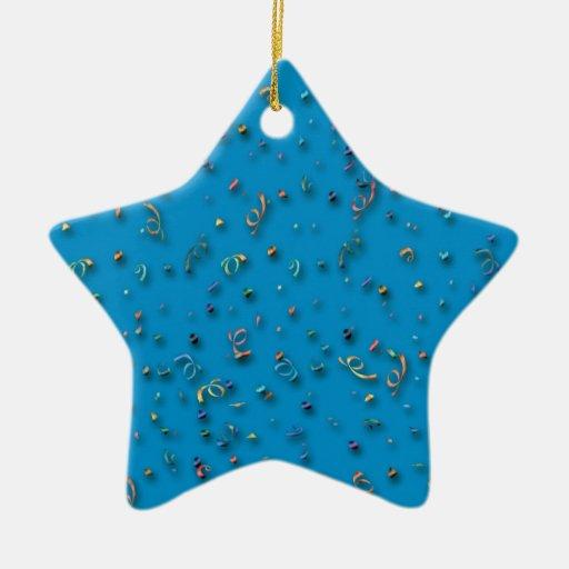 Confeti de la Feliz Año Nuevo en azul Adorno
