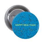 Confeti de la Feliz Año Nuevo en azul Pins