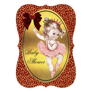 """Confeti de la hoja de oro de princesa Ballerina Invitación 5"""" X 7"""""""