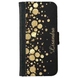 Confeti de la hoja de oro en el negro - iPhone 6 Funda Cartera Para iPhone 6
