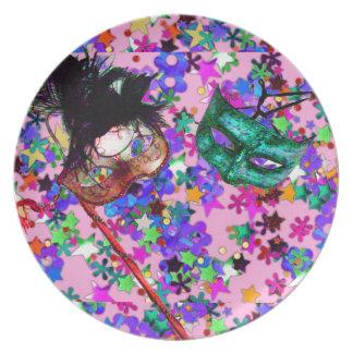 Confeti de la MÁSCARA de la BOLA de MASCARADA del Plato De Cena