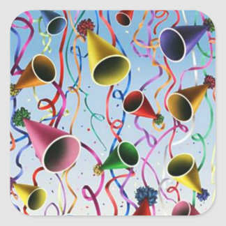 Confeti de las flámulas de los gorras del fiesta calcomania cuadrada personalizada